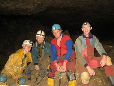 Group shot in the Music Hall - L to R : Kate, Taylor, Huw D and Huw J (Huw J helmetless as lamp being used to light up boulders in background) Photo - Huw Jones