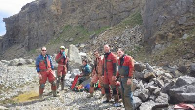 The team in the quarry, outside the entrance to Ogof Tarddiad Rhymney