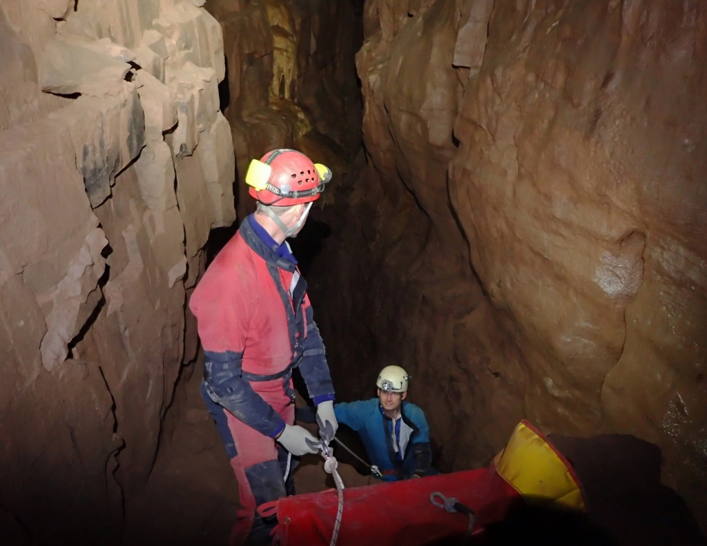 Huw lining Dave on the Chasm pitch - Photo Gareth Jones