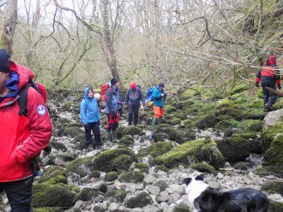 Dry riverbed of the Afon Nedd Fechan