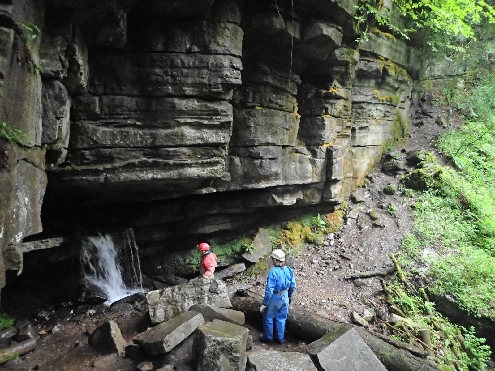 Stream falling out of Ogof Clogwyn entrance
