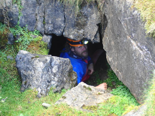 Pete in the entrance to Ogof Carreg Yr Ogof